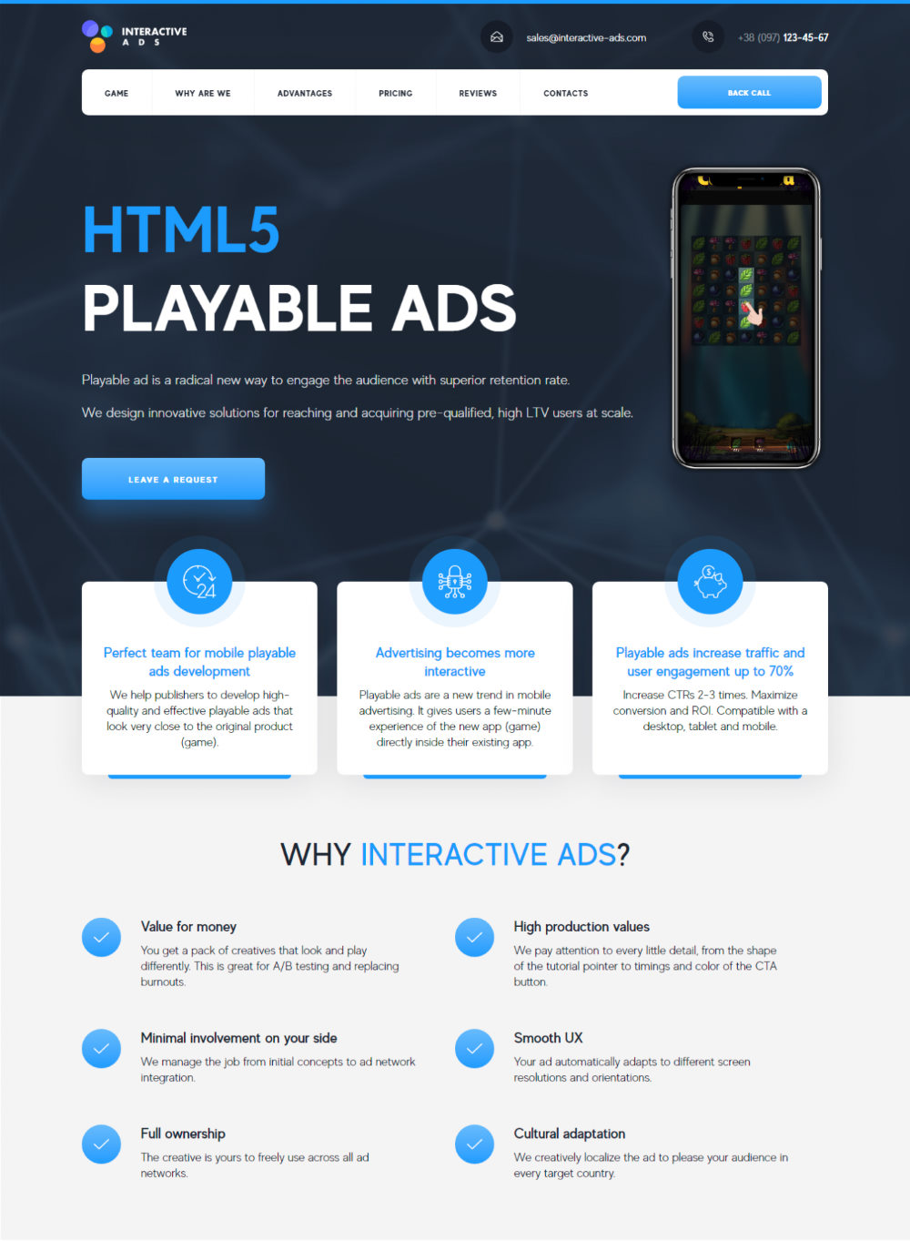 Разработка Лендинг Пейдж HTML5 Playable Ads